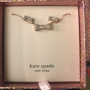Kate Spade Ready Set Bow Necklace & Stud Rose Gold